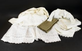 Late 19th/ Early 20th Century Cotton Broderie Christening Gowns Two white cotton long sleeve gowns