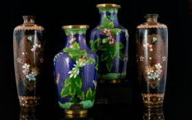 Pair Of Slender Japanese Cloisonne Vases With Brown Enamel Floral Panels, Height 7.5 Inches.