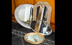Four Decorative Mirrors To include large oval shabby chic mirror, small oval gilt framed mirror,