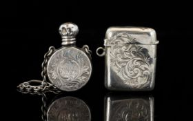 Edwardian Period Lovely Miniature Circular Silver Scent Bottle In the form of a flask with attached