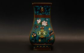 Oriental Sectional Cloisonne Vase Teal blue ground with sage, umber, yellow,