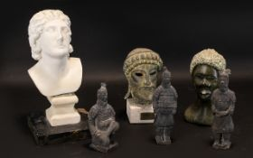 A Collection Of Archaic Style Figures And Collectibles To include three miniature terracotta