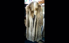 Full Length Fox Fur Coat fully lined in polysatin with embroidered motifs and revere collar,