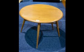 Ercol Small Single Drop Leaf Table - Light elm / ash, circular form, turned supports.