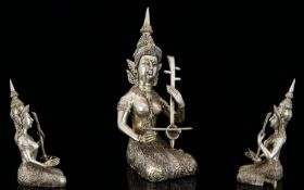 Indian - Cast Silver Statue / Figure of An Indian Deity - Playing a Musical Instrument In a Kneeling