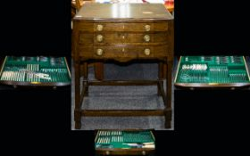 Oak Canteen Of Cutlery Early 20th century three drawer free standing canteen, fitted with plain,