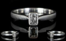 Platinum Set Contemporary Single Stone Diamond Ring the step cut diamond of top colour and clarity
