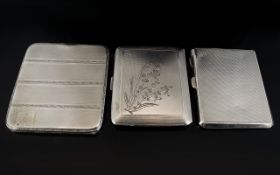 A Collection of Hallmarked Ladies Silver Cigarette Cases ( 3 ) In Total.
