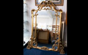 Baroque Style Large Overmantle Mirror gilt scrolling frame, height 60 inches, 37 inches wide,