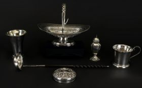 A Small Mixed Lot Of Antique Silver To include a single pepperette,