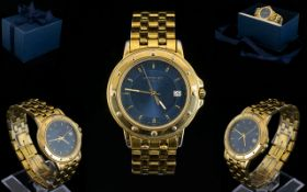 Raymond Weil Geneve Unisex Gold Plated Date-Just Wrist Watch, Features a Blue Dial, Gold Markers,