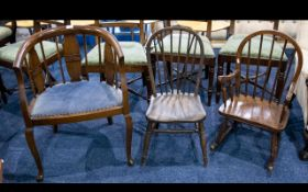 A Collection of Three Chairs - To include child's spindle back,