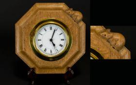 Robert Thompson of Kilburn 'Mouseman' oak octagonal wall clock with signature mouse to top, 7.