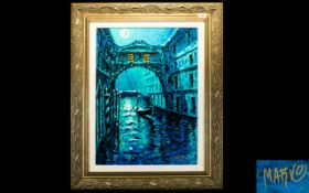Marko Mavrovich, Blue Moon Over Venice, Giclee In Colour On Canvas With Hand Embellishment, Signed