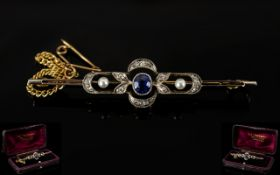 Art Deco Period 18ct Gold and Platinum Nice Quality Diamond and Sapphire Ladies Brooch of Good Form