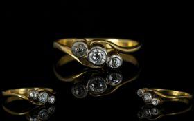 18ct Gold 3 Stone Diamond Ring, The Pave Set Diamonds of Good Sparkle,