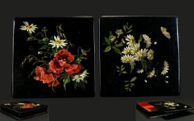 Victorian Period - Ebonised Paper Mache Square Shaped Lacquered Boxes ( 2 ) with Good Quality Floral