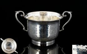 Antique Period Superb Quality Twin Handle Solid Silver Planished Porringer in wonderful condition,