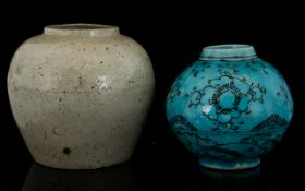 Antique Oriental Bulbous Vases One With Straw Glaze Height 5 Inches.