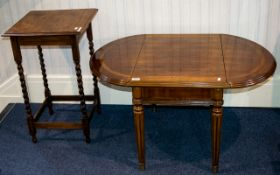 A Beechwood Occasional Table Together with a walnut veneer low drop leaf table with fluted legs on