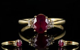Ladies - Attractive 9ct Gold Single Stone Faceted Ruby Dress Ring, Set with Diamond Shoulders,