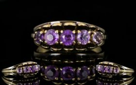 9ct Gold - Attractive Five Stone Amethyst Set Dress Ring,