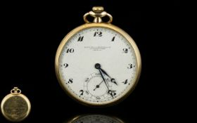 Goldsmith and Silversmiths 1950's Slim Fold 9ct Gold Open Faced Pocket Watch of nice quality with