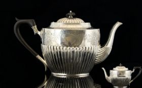 Victorian Period Good Quality Solid Silver Ornate Teapot - Classic Shape with Half Fluted Body Which