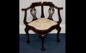 A Modern Reproduction Mahogany Corner Chair In Georgian style,