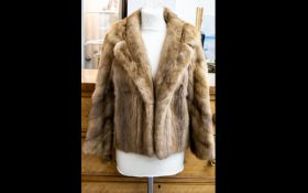 Vintage Medium Brown Mink Short Jacket. Light polysatin lining with slit pockets and hook and eye