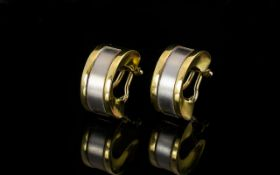 Australian Fine Pair of 17ct Two Tone Gold Earrings, Modern design in two tone brushed gold.