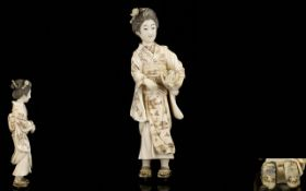 Japanese Superb Carved Ivory Okimono Figure from the Meiji period 1864-1912.