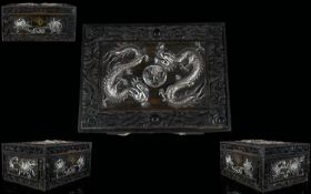Chinese Export, Canton Carved Hinged Box With Applied Silver Dragons To The Lid And Floral Silver To