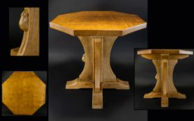 """Robert """"Mouseman"""" Thompson Octagonal Occasional Table, with adzed top,"""