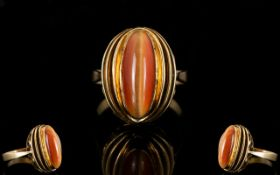 14ct Gold Attractive Nice Quality Designed Marquise Shaped Single Stone Agate Ring.