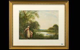Fred Hines Watercolour, mother and young daughter on the bank watching birds on the river,