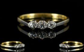 Antique Period 18ct Gold and Platinum Set 3 Stone Diamond Ring marked 18ct and platinum.