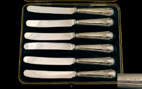 Mappin & Webb Set of Six Silver Handle Butter Knives of Excellent Quality, Large Size - Ornate