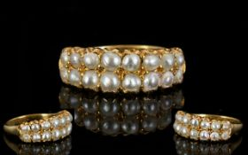 Antique Period Attractive and Superb Quality 18ct Gold Pearl Set Dress Ring, Set with 16 Pearls,