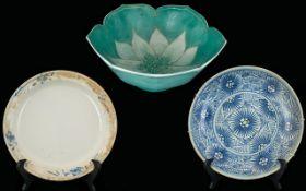 Three Oriental Bowls Decorated In Underglaze Blues. As Found.