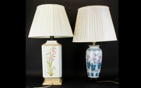An Italian Sectional Ceramic Table Lamp with painted floral decoration ,