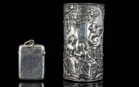 A Late 19th Century Silver Vesta Case With engraved floral decoration,