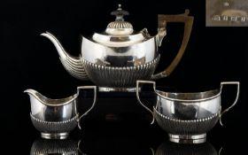Edwardian Period - Silver 3 Piece Bachelors Tea Service of Excellent Proportions. Comprises
