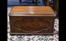 A Mahogany Chest/Document Box of small proportions with panelled front, twin handles on bobbin feet,