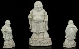 Chinese Blanc De Chine Figure Of A Standing Buddah Holding A Peach. Height 7.