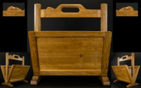 Robert Thompson Of Kilburn 'Mouseman' oak magazine rack with two apertures and signature mouse to