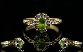 Ladies - Fancy Shank 9ct Gold Peridot and Diamond Set Dress Ring. Fully Hallmarked.