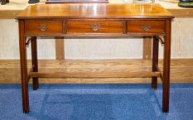 Early - Mid 20th Century Console/Hall Table Of rectangular form with three central drawers, brass