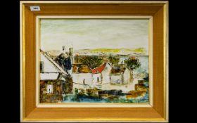 Original Oil On Board Mid century oil on board depicting a Cornish fishing village,