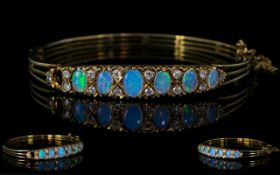 Antique Style - 9ct Gold Very Attractive Opal and Diamond Set Hinged Bangle with Attached 9ct Gold